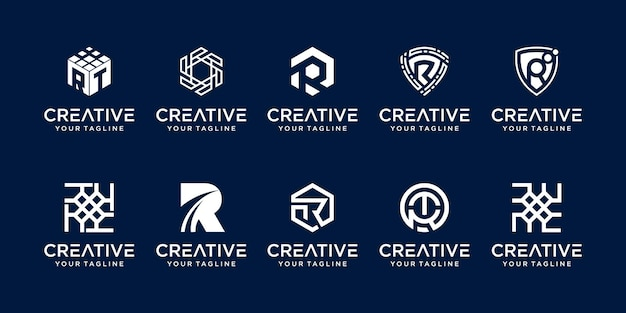 Set van letter r rr logo sjabloon Premium Vector