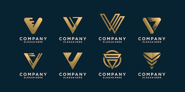 Set van letter v logo collectie met gouden concept Premium Vector