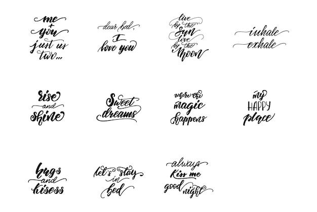 Set van letters zinnen voor slaapkamer posters. Premium Vector