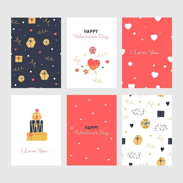 Set van leuke valentijnsdag kaarten met geschenken. Premium Vector