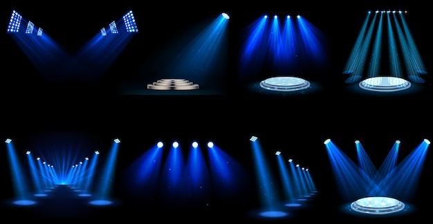 Set van lichteffect schijnwerpers Premium Vector