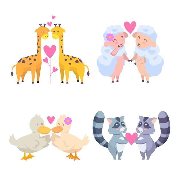Set van liefde dieren paren voor valentijnsdag Gratis Vector