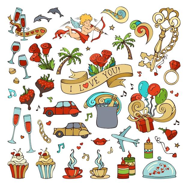 Set van liefde pictogrammen en tekens. romantische elementen op witte achtergrond. valentijnsdag symbolen. Premium Vector