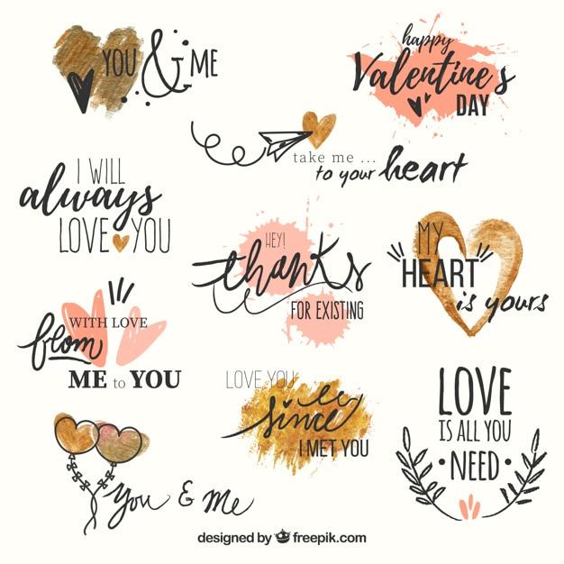 Set van liefde zinnen met waterverf harten Gratis Vector