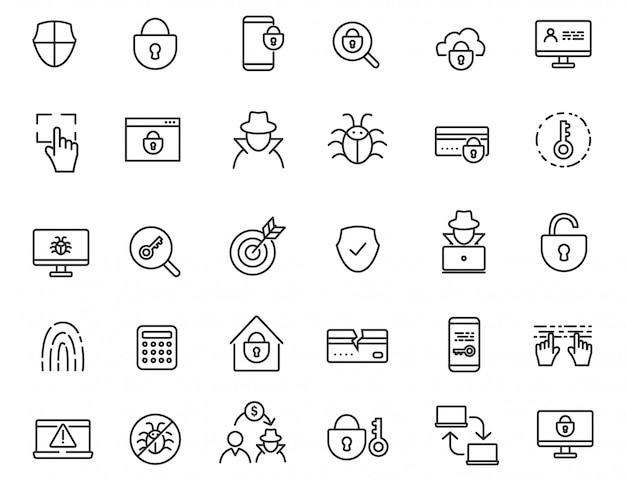 Set van lineaire criminele iconen. Premium Vector