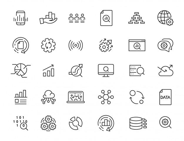 Set van lineaire gegevensverwerking iconen. analyse pictogrammen in eenvoudig ontwerp. vector illustratie Premium Vector