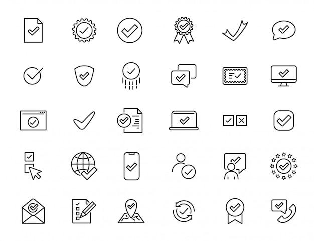 Set van lineaire goedkeuren van pictogrammen. controleer pictogrammen in eenvoudig ontwerp. vector illustratie Premium Vector