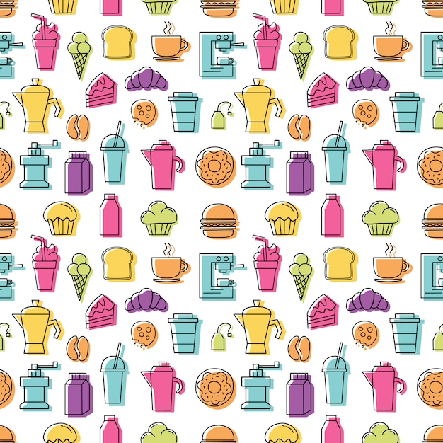Set van lineaire kleurrijke pictogrammen voor koffie winkel patroon naadloos met witte achtergrond. Premium Vector