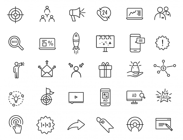 Set van lineaire reclamepictogrammen. marketing pictogrammen in eenvoudig ontwerp. Premium Vector