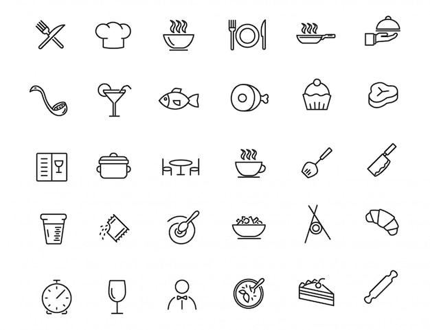 Set van lineaire restaurant pictogrammen. voedselpictogrammen in eenvoudig ontwerp Premium Vector