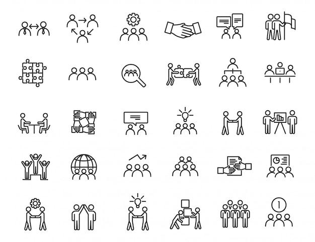 Set van lineaire teamwerk iconen. communicatie pictogrammen in eenvoudig ontwerp. Premium Vector