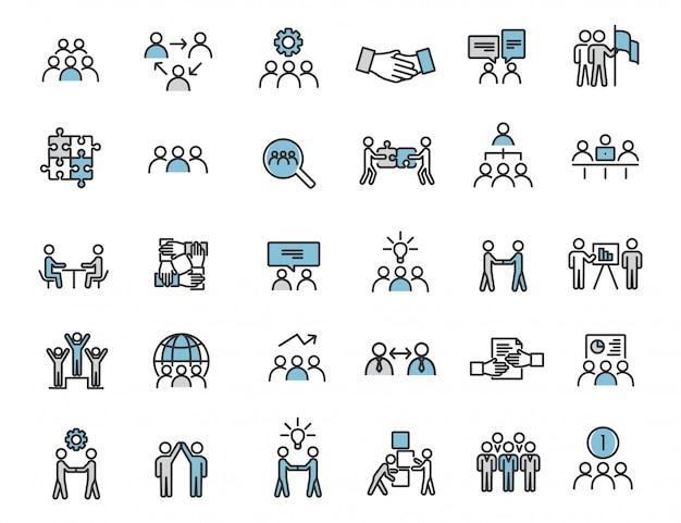 Set van lineaire teamwerk pictogrammen communicatie pictogrammen Premium Vector
