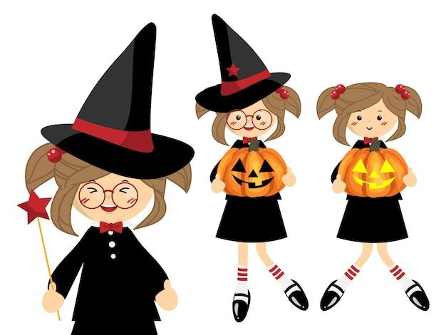 Set van little halloween-heks. Premium Vector