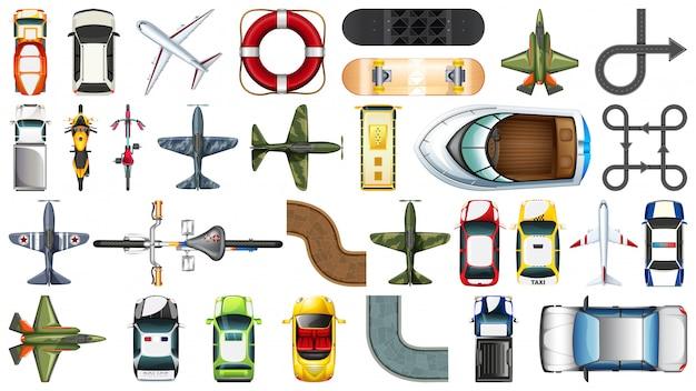Set van luchtfoto van transportvoertuig Gratis Vector