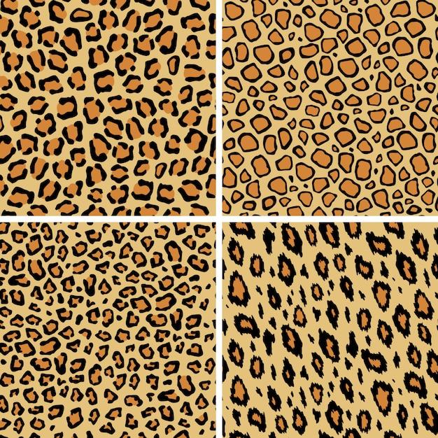Set van luipaardvel naadloze patroon. wilde kat textuur herhalen. abstract dierlijk bontbehang. Premium Vector