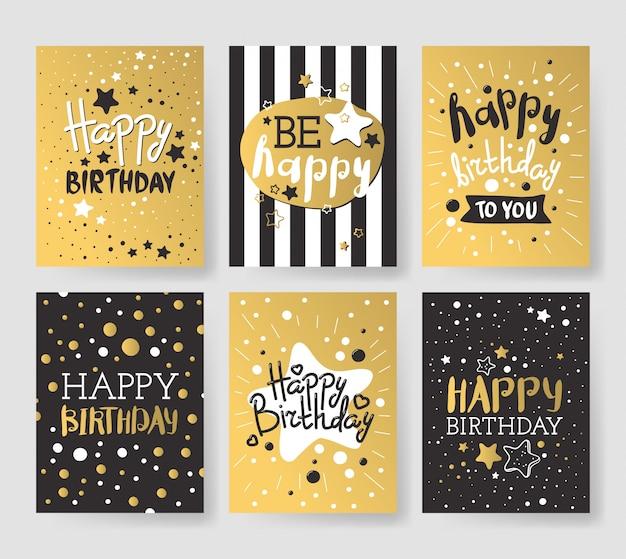 Set van luxe verjaardagskaarten versierd met kleurrijke ballonnen, sterren, stippen, lijnen Premium Vector