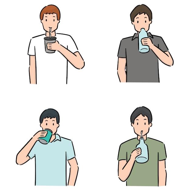 Set van man drinken Premium Vector