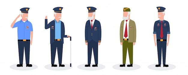 Set van man militair leger veteranen soldaat cartoon afbeelding premium vector Premium Vector