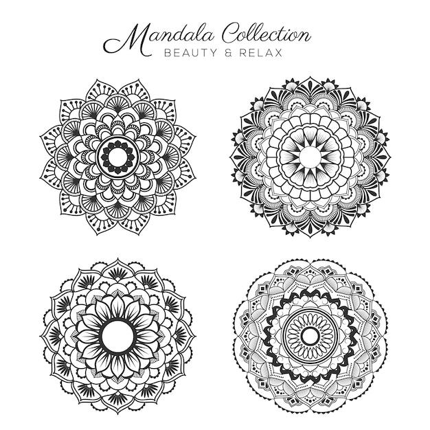Set van mandala decoratieve en sier ontwerp voor kleurplaat, wenskaart, uitnodiging, tattoo, yoga en spa symbool Gratis Vector