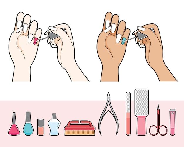 Set van manicure en apparatuur voor nagelsalon, vrouw schilderij nagellak op haar nagel Premium Vector