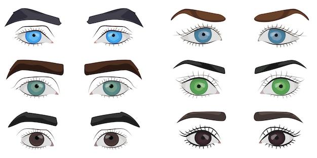 Set van mannelijke en vrouwelijke ogen collectie Premium Vector