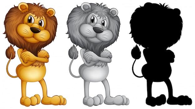 Set van mannelijke leeuw staan Gratis Vector