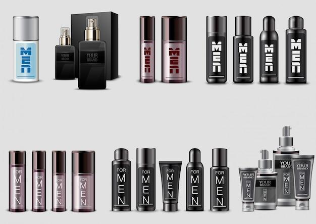 Set van mannen cosmetische verpakking op witte achtergrond Premium Vector
