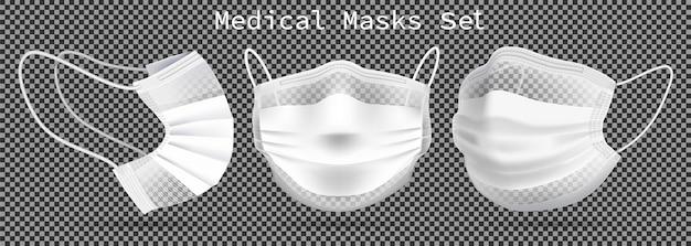 Set van medische maskers - sjabloon. vanuit verschillende hoeken ter bescherming van coronavirus, infectie en besmette lucht. Premium Vector