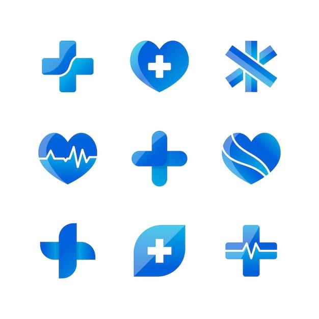 Set van medische pictogrammen 3d-ontwerpen Gratis Vector