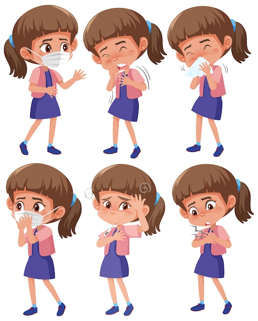 Set van meisje met verschillende symptomen op witte achtergrond Premium Vector