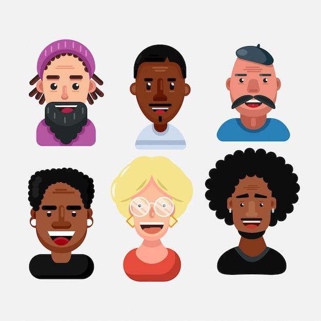 Set van menselijke gezichten die positieve emoties uitdrukken. diverse multiraciale en multiculturele groep mensen geïsoleerd Premium Vector