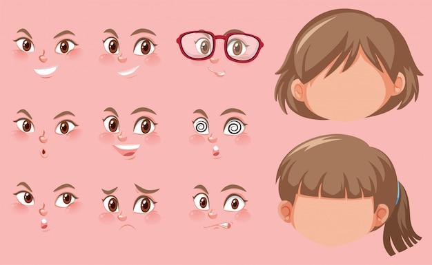 Set van menselijke hoofden en verschillende uitdrukkingen op het gezicht Premium Vector