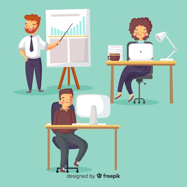 Set van mensen die werken op kantoor Gratis Vector