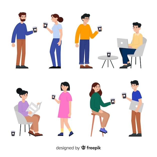 Set van mensen en technologie Gratis Vector