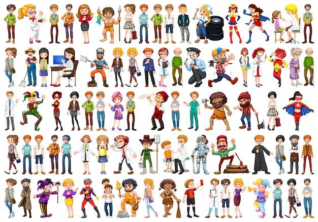 Set van mensen karakter Gratis Vector
