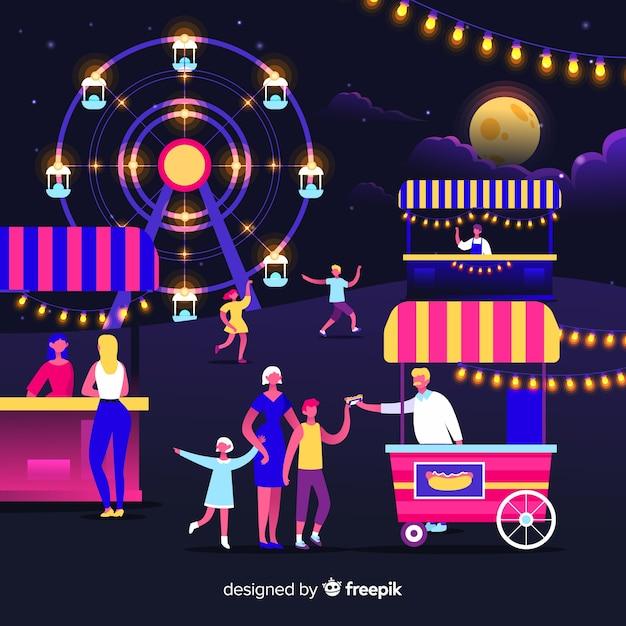 Set van mensen op een nachtmarkt Gratis Vector