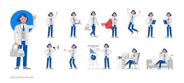 Set van mensen uit het bedrijfsleven werken karakter Premium Vector