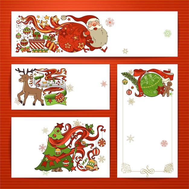 Set van merry christmas-banners Premium Vector
