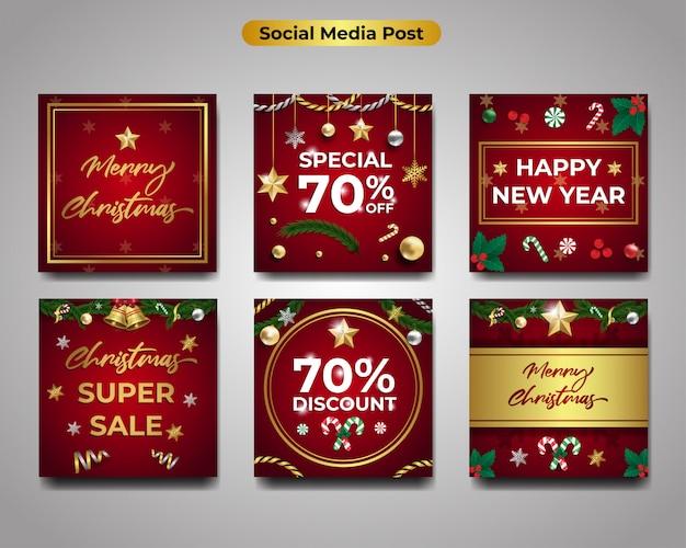 Set van merry christmas wenskaarten, gelukkig nieuwjaar en seizoensgebonden banner verkoop korting Premium Vector