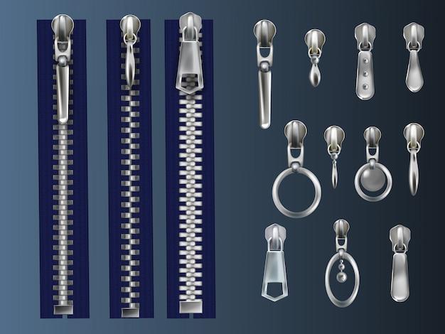Set van metaal, gesloten ritssluitingen op blauwe textieltape en stalen trekkers met verschillende oogjes Gratis Vector