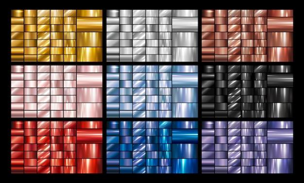 Set van metalen of metalen achtergrond Premium Vector