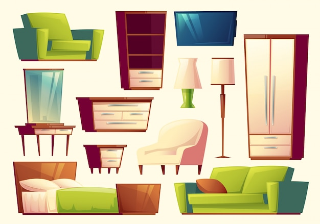 Set van meubels - bank, bed, kast, fauteuil, fakkel, tv, kledingkast Gratis Vector