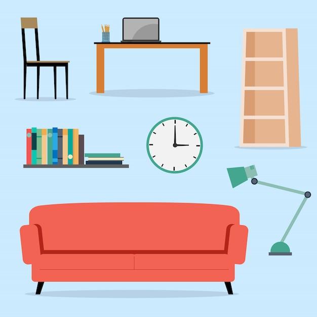 Set van meubels interieur vlakke afbeelding Premium Vector