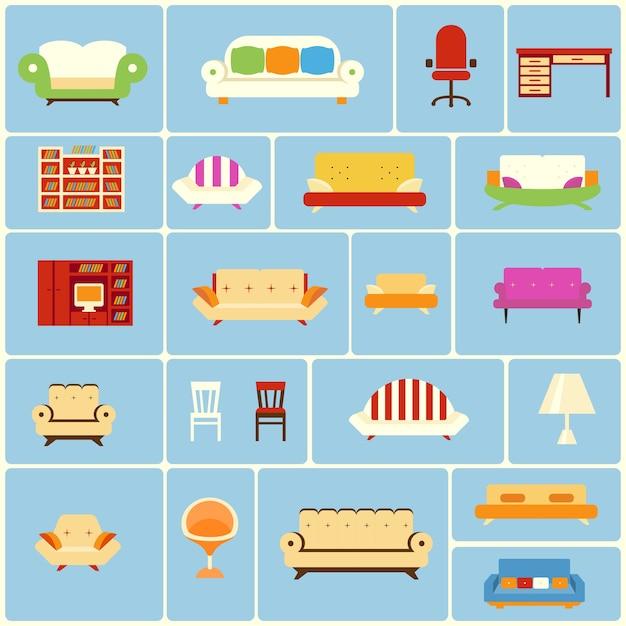Set van meubels pictogrammen Gratis Vector