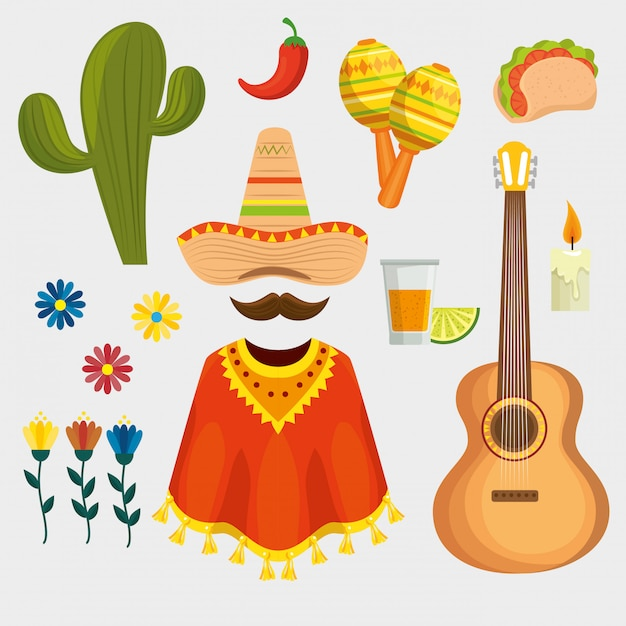 Set van mexicaanse traditionele elementen Gratis Vector