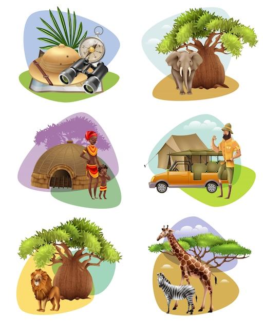 Set van mini-composities op safari-thema Gratis Vector
