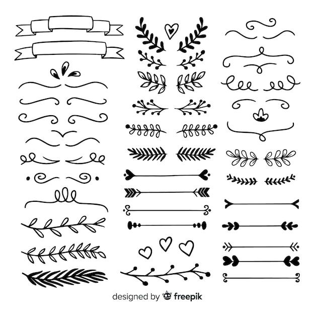 Set van minimalistische hand getrokken bruiloft ornamenten Gratis Vector