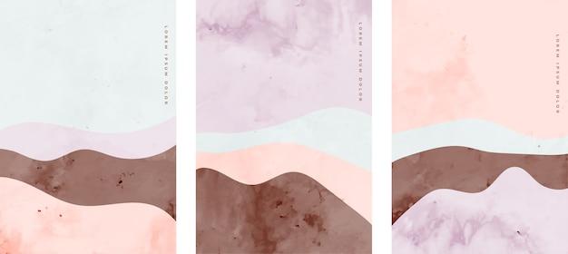 Set van minimalistische handgeschilderde creatieve kunst kromme lijnen Gratis Vector