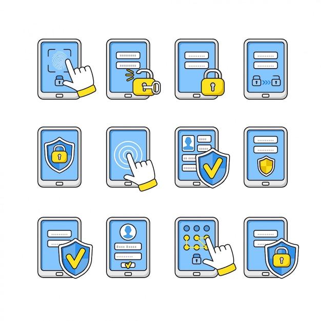 Set van mobiele beveiliging. smartphone veiligheidsconcept. wachtwoordsleutel en slot op smartphone. tekens om de telefoon te beschermen. Premium Vector