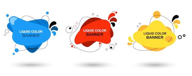 Set van moderne abstract vector banners. vloeibare kleur banners. platte geometrische vormen van verschillende kleuren met zwarte omtrek. Premium Vector